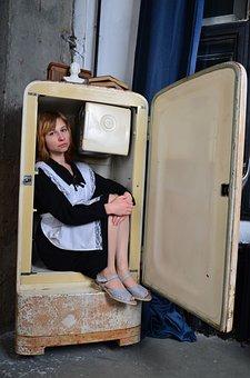 Woman, Fridge, Refrigerator, School Uniform