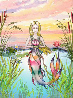 Girl, Nymph, Siren, Tales, Myth, Fantasy, Mermaid