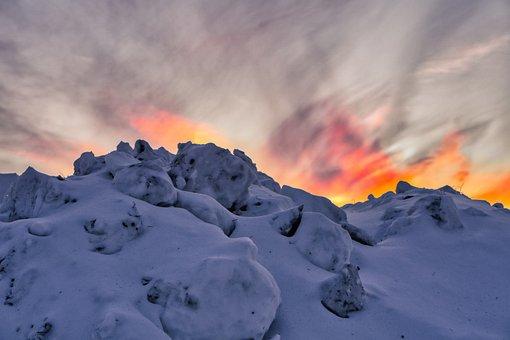 Evening, Sunset, Sky, Clouds, Snow, Mountain, Siberia