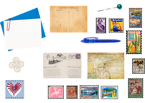 Stationery, Postage, Stamp, Post Cards, Pen, Pin, Mail