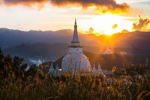 Temple, Pagoda, Stupa, Sunrise, Wat, Sri Lanka