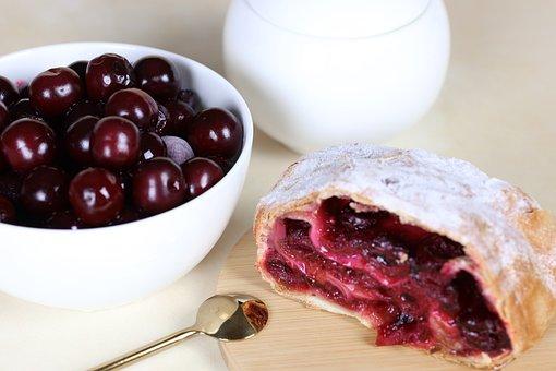 Strudel, Cherry, Dessert, Sweetness, Sweet, Delicious