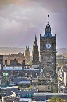Clock Tower, City, Edinburgh, Tower, Buildings, Town