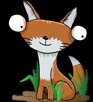 Fox, Tail, Animal, Grass, Character, Funny, Cartoon