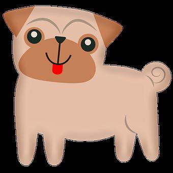 Pug, Dog, Cartoon, Pet, Puppy, Pup, Animal, Domestic