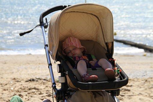 Baby, Stroller, Beach, Baby Stroller, Sleep, Asleep