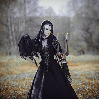 Witch, Woman, Candles, Candlestick, Costume, Cosplay