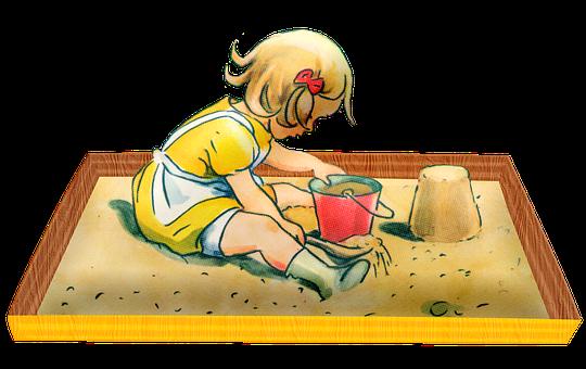 Child, Sandbox, Vintage, Girl, Play, Bucket, Sand