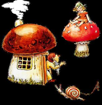 Elves, Gnomes, House, Mushrooms, Snail, Child, Girl