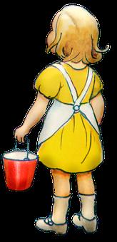 Girl, Child, Vintage, Play, Yellow Dress, Bucket, Kid