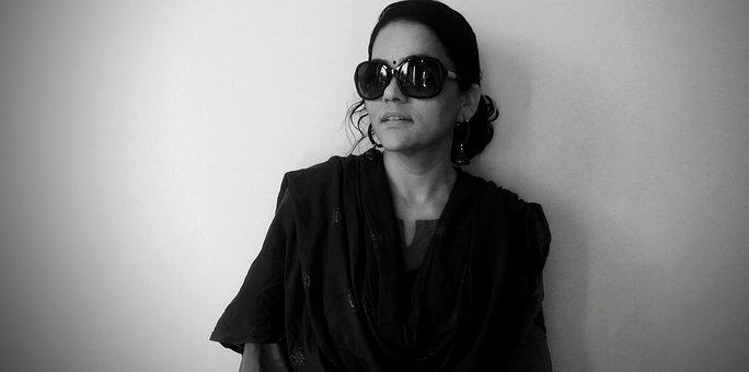 Woman, Sunglasses, Monochrome, Girl, Female, Model