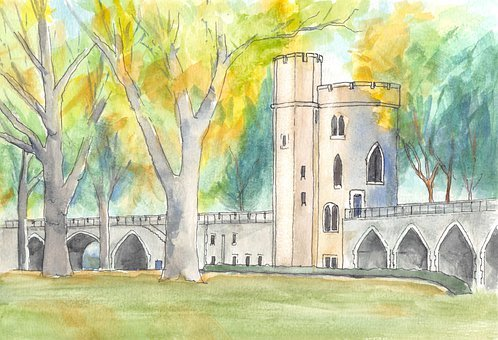 Castle, Fall, Walls, Turrets, Watercolor, Painting