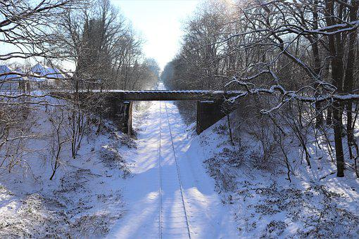 Railway, Bridge, Rails, Track, Landscape, Trees, Winter