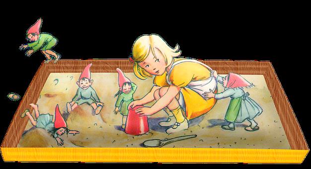 Child, Sandbox, Vintage, Girl, Play, Sand, Yellow Dress