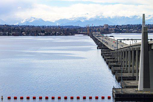 Lake, Bridge, Seattle, Floating Bridge