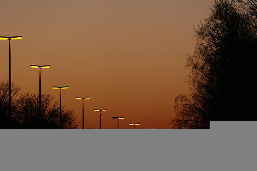 Street Lamps, Trees, Sunset, Evening, Silhouette, Road