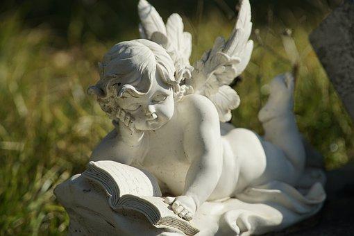 Reading Angel, Angel, Statue, Sculpture
