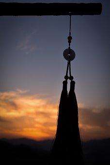 Bamboo Flute, Pendant, Twilight, Sunset