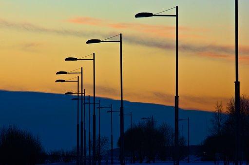 Sunset, Street Lights, Silhouettes, Dusk, Twilight