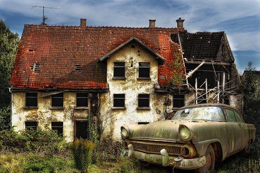 Old House, Old Car, Transportation, Old, Vintage