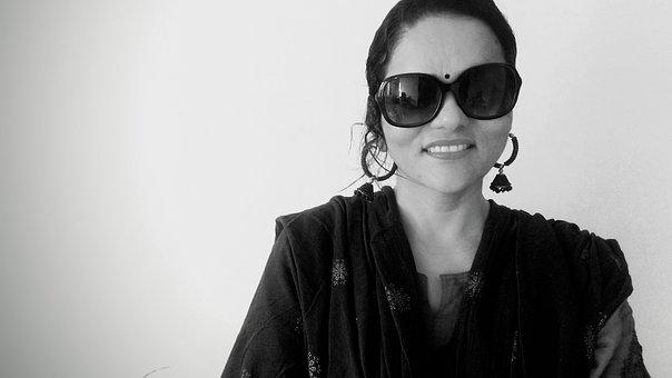 Black White, Woman, Goggle, Indian Woman, Salwar