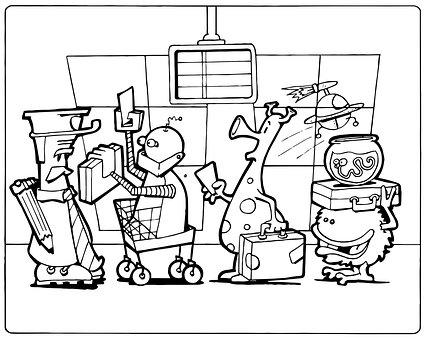 Aliens, Airport, Boarding, Departure, Travel, Arrival