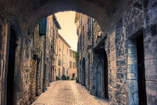Alley, Buildings, Village, Archway, Pavement, Town