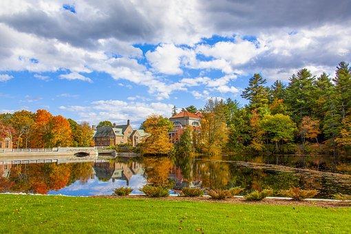 Lake, Reflection, Fall, Autumn, Bridge, Buildings