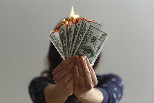 Money, Cash, Burning, Burning Cash, Dollar, Bills
