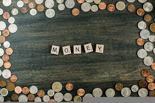 Money, Coins, Letter Tiles, Finance, Currency, Wealth