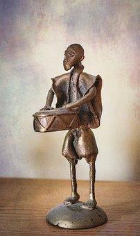 Drummer, African, Figurine, Statuette, Statue, Figure