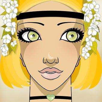 Woman, Beauty, Hippie, Sixties, Seventies, Flower Power