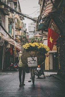 Flowers, Basket, Bicycle, Road, Street, People, Vietnam