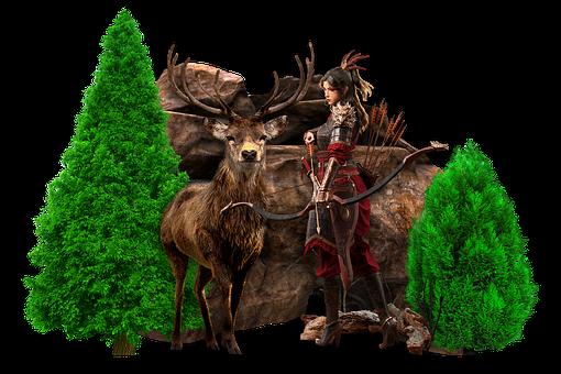 Woma, Warrior, Hunter, Deer, Antlers, Animal