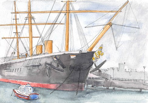 Ship, Port, Watercolor, Tugboat, Vessel, Ironclad