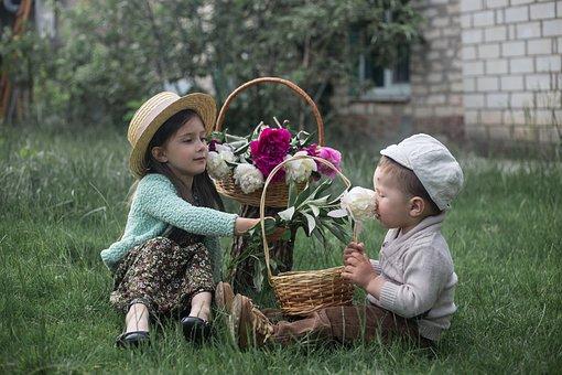 Kids, Flowers, Baskets, Children, Boy, Girl, Cute