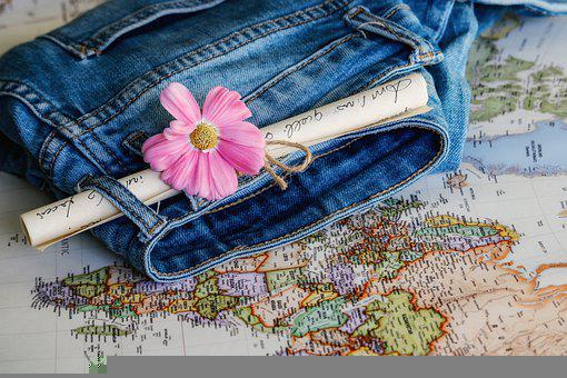 Jeans, Map, Travel, Flower, Destination, Geography