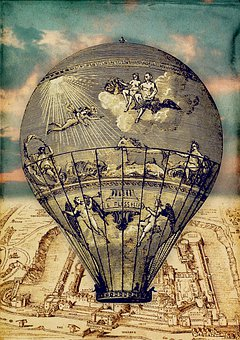 Hot Air Balloon, Map, Vintage, London, Travel