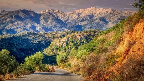 Road, Pavement, Mountains, Asphalt, Curve, Grass, Trees