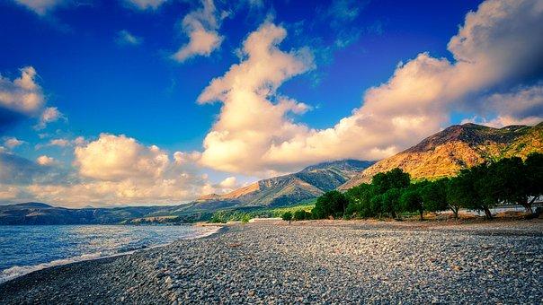 Beach, Pebbles, Coast, Mountains, Sea, Ocean, Water