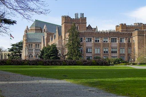 Campus, Buildings, Field, Old Buildings, Walkway, Path