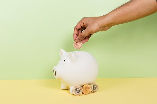 Piggy Bank, Finance, Bitcoin, Coins, Cryptocurrency