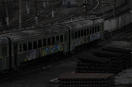 Train, Railway, Abandoned, Graffiti, Old, Train Parking