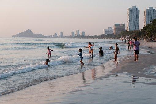 Beach, People, City, Coast, Seashore, Sand, Seaside