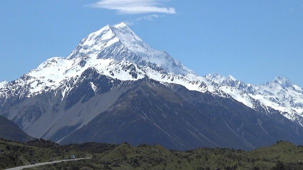 Mountain, Snow, Landscape, Road, Hills, Snow Capped
