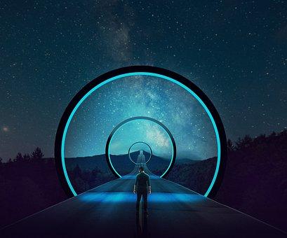 Man, Road, Space, Portal, Starry Sky, человек