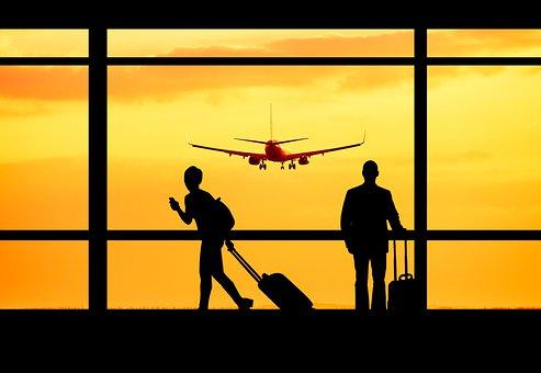 Airport, Travel, Passengers, Silhouette, Travelers, Man