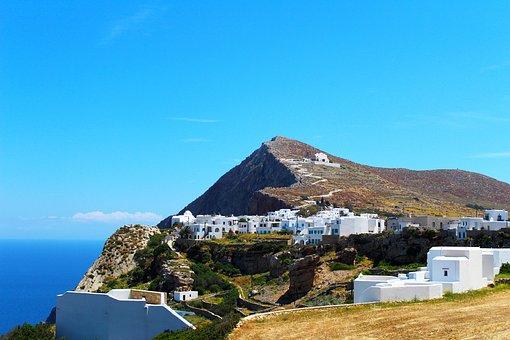 Mountain, Village, Folegandros, Island, White Buildings