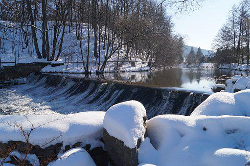 River, Trees, Winter, Snow, Water, Reflection, Weir