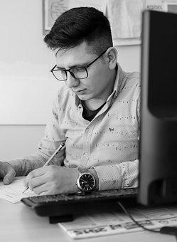 Man, Working, Black And White, Writing, Employee, Job